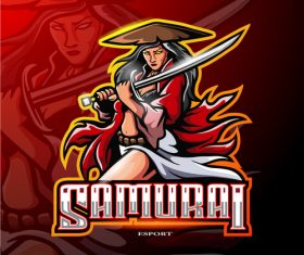 Female samurai logo vector