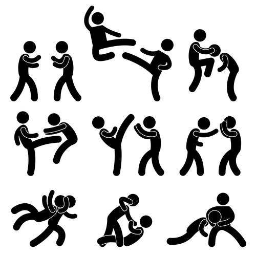 Fight matchstick men vector