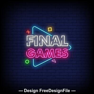 Final games neon signs style text vector