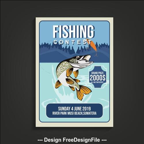 Fishing contest poster vector