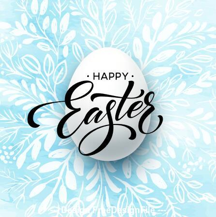 Flower background and easter egg card vector