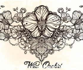 Flower hand drawn decorative pattern vector