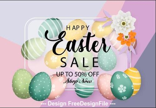 Flowers and hand painted easter egg background vector