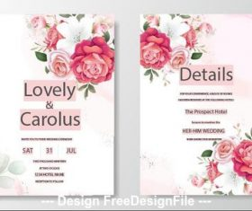 Flowers background wedding invitation card vector