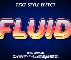 Fluid 3d font effect editable text vector