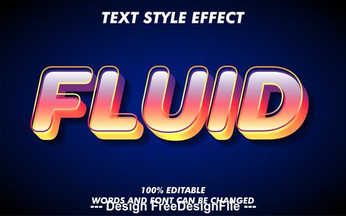 Fluid 3d font effect editable text vector