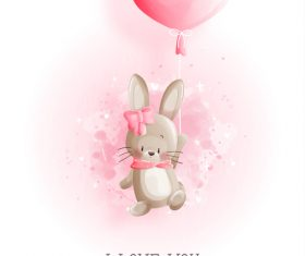 Flying bunny easter illustration vector