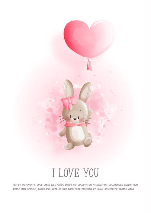 Flying bunny easter illustration vector