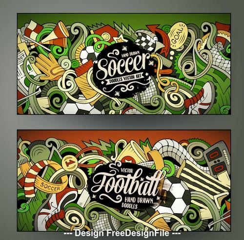 Football doodles banners vector