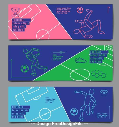 Football lines banners hand drawn vector