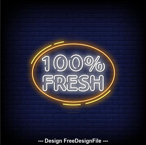 Fresh neon signs style text vector