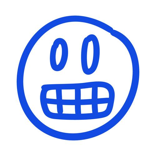 Frightened hand drawn emoji vector