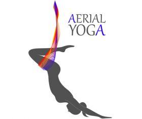 Front flip aerial yoga logo vector