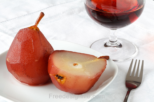 Frozen pear and red wine Stock Photo