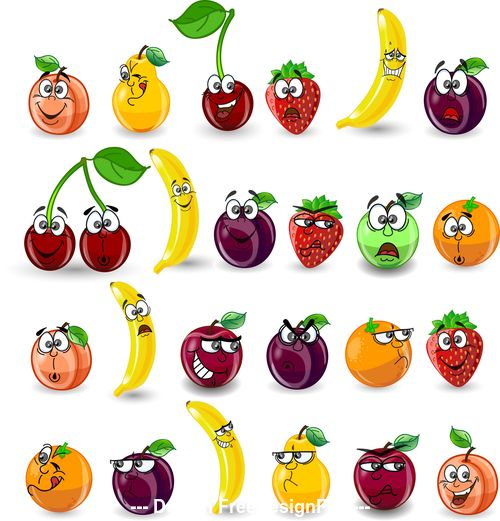 Fruits with rich expressions vector