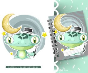 Fun frog cartoon background pattern vector