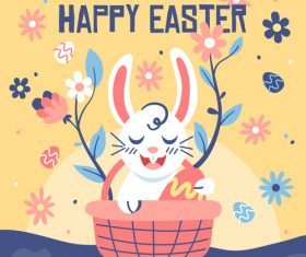 Funny cartoon easter card vector