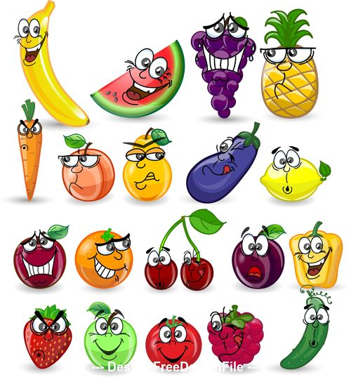 Funny fruit cartoon expression icon vector
