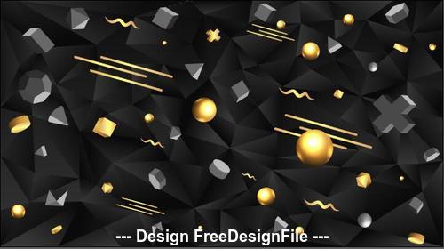 Geometric vector illustration on black background