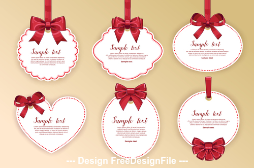 Gift tag with bow vector