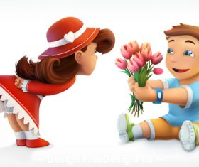 Girl and boy greetings bouquet of flowers vector