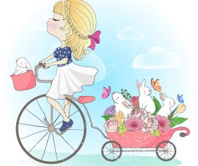 Girl and rabbit cartoon illustration vector