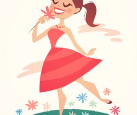 Girl in spring vector