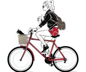 Girl riding bicycle art illustration vector design