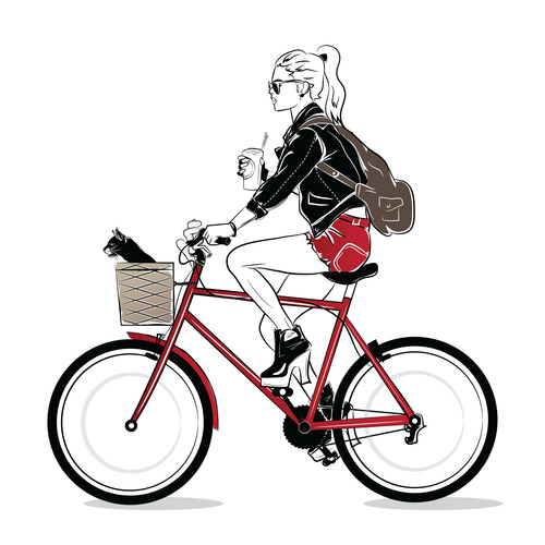 Girl riding bicycle art illustration vector design