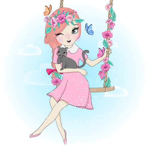 Girl swinging cartoon illustration vector