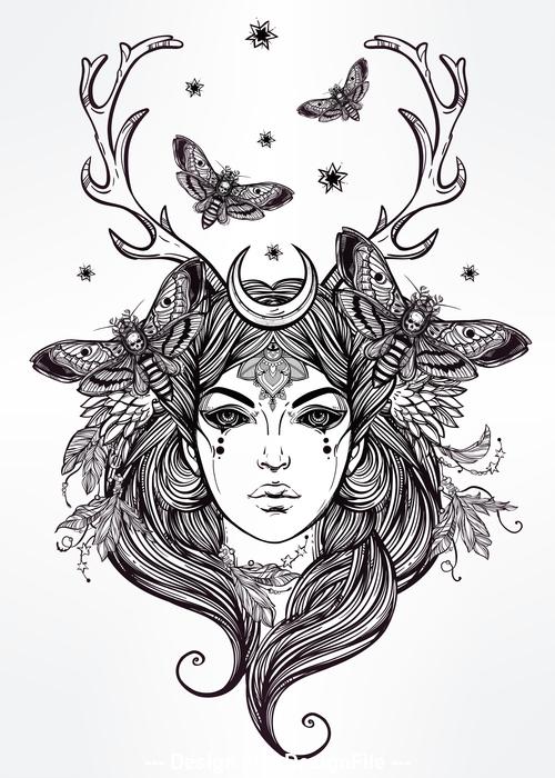 Goddess hand drawn decorative pattern vector