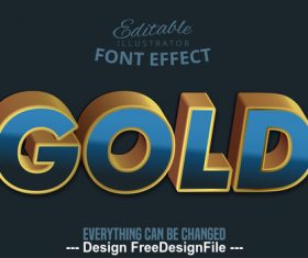 Gold 3d font effect editable text vector