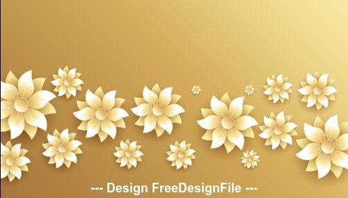 Golden background flowers decoration design vector