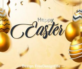 Golden background luxury easter card vector