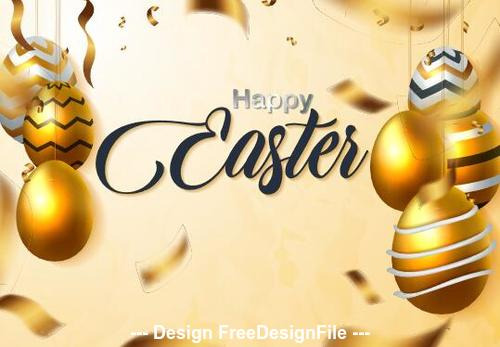 Golden background luxury easter card vector