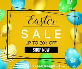 Golden easter egg background easter flyer vector