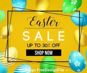 Golden easter egg background easter flyer vector
