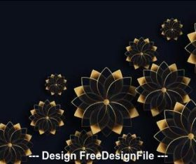 Golden flowers decoration background design vector