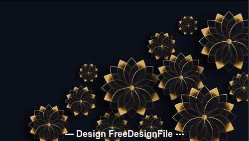 Golden flowers decoration background design vector