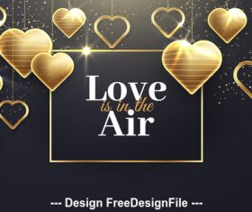 Golden heart pendant and valentine dialog vector