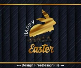 Golden rabbit easter card vector