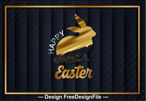 Golden rabbit easter card vector