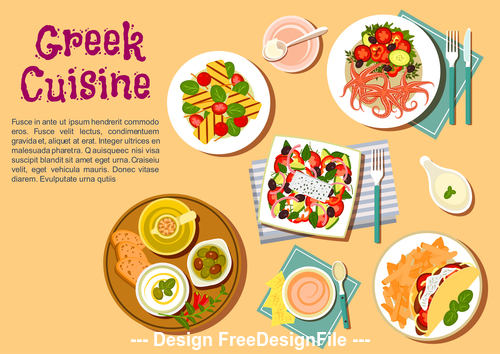Greek cuisine vector