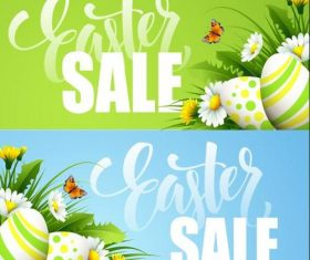 Green and blue background easter sale banner vector