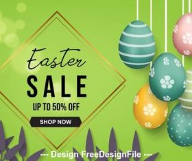 Green background easter egg flyer vector