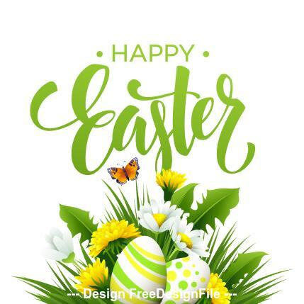 Green easter greeting card vector