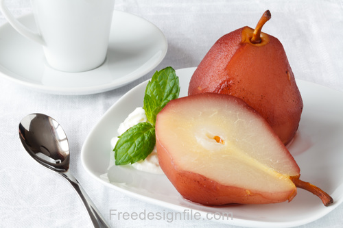 Green leaf with Ice Cream and Frozen pear Stock Photo