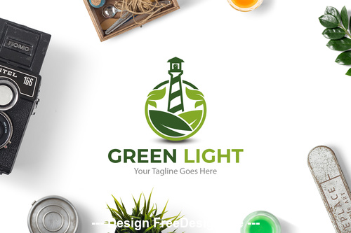 Green light logo vector