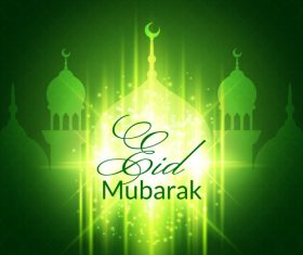 Green mosque silhouette background vector