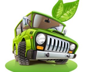 Green off-road vehicle cartoon vector